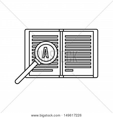 Magnifying glass over open book icon in outline style on a white background vector illustration
