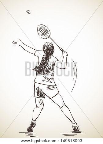 Sketch of woman badminton player, Hand drawn vector illustration