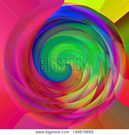 Abstract coloring background of the pastels gradient with visual lighting, polar coordinates and twirl effects.