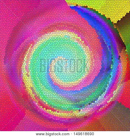 Abstract coloring background of the pastels gradient with visual lighting,poolar coordinates,twirl and stained glass effects.Good for your project design