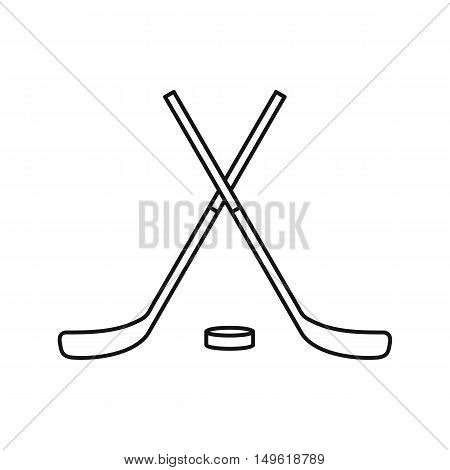 Crossed hockey sticks and puck icon in outline style on a white background vector illustration