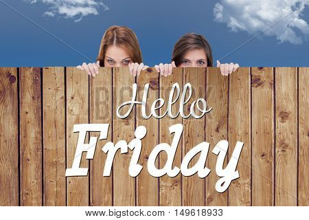 Hello Friday word against wooden planks