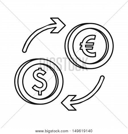 Euro dollar euro exchange icon in outline style on a white background vector illustration