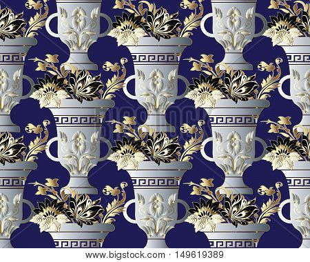 Elegant vector seamless pattern background  illustration with 3d ancient medieval white greek vase with vintage flowers, ornaments on the dark blue background.Flowers in vase. Flowers pattern