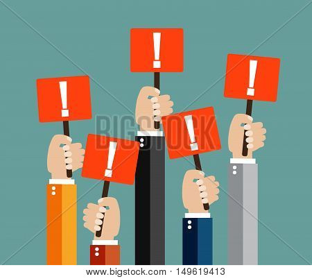 Five cartoon businessmens hands holding red sign boards with exclamation mark. Attention sign. illustration in flat design on green background