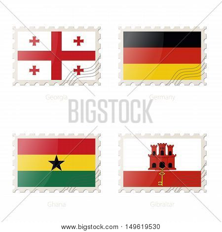 Postage Stamp With The Image Of Georgia, Germany, Ghana, Gibraltar Flag.