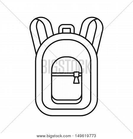 Backpack icon in outline style on a white background vector illustration
