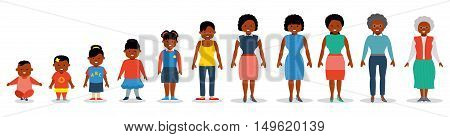 African american ethnic people generations at different ages. Woman african american ethnic aging - baby child teenager young adult old. Flat illustration