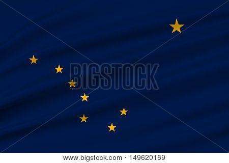 Flag of Alaska state United States. 3D illustration