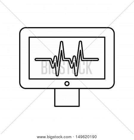 Electrocardiogram monitor icon in outline style on a white background vector illustration