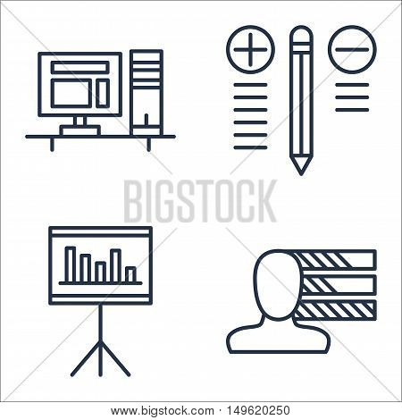Set Of Project Management Icons On Workspace, Personality, Best Solution And More. Premium Quality E