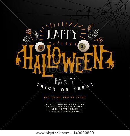 Happy Halloween lettering. Vector illustration.