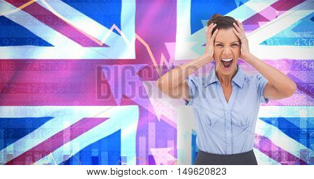 Stressed businessswoman with hand on her head against digitally generated uk national flag
