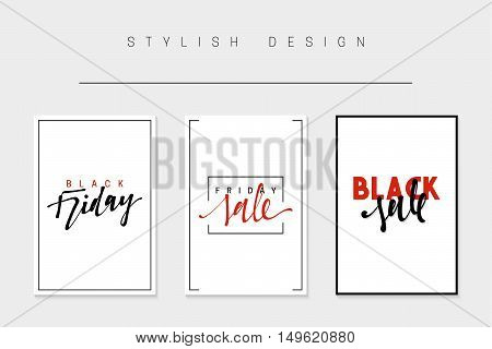 Set of cards for sales, black friday, big sale, discount selling tag, posters, newsletter designs, ads, promotional material. Text handmade calligraphy. Vector illustrations