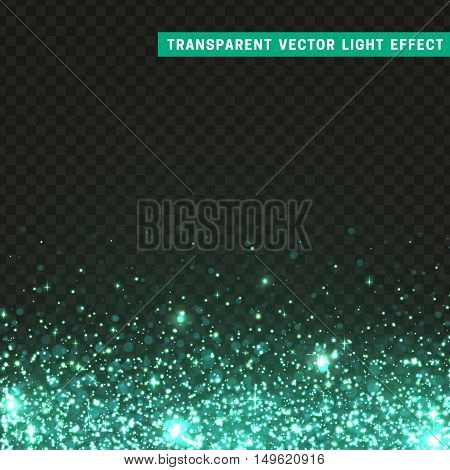 Transparent vector light effect turquoise. Glitter particles, shining stars , space background. Bright design element, turquoise luxury greeting card