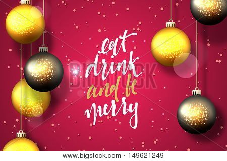 Merry Christmas and Happy New Year card design. Text handmade calligraphy Merry Christmas. Pink background with snowflakes and bright highlights, Christmas balls, greeting card