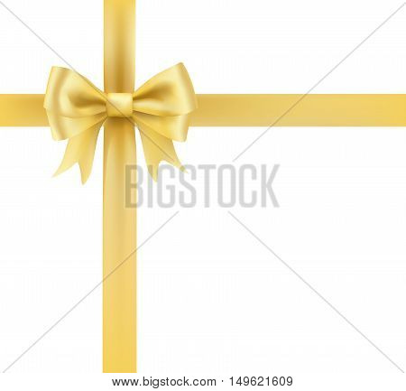 golden bow ribbon greeting decorative element. vector illustration