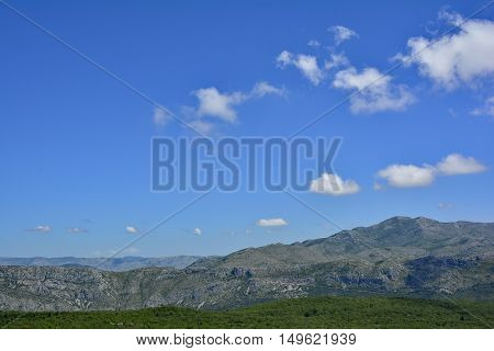 The landscape just inland of Dubrovnik Croatia.