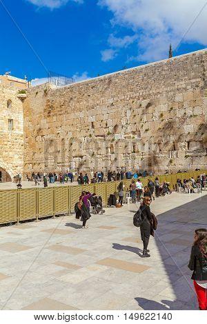 Jerusalem, Israel - February 17, 2013: People Praying Near Western Wall