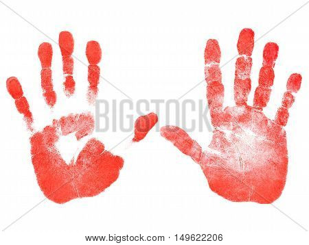 Red prints of the right and left hands on white background