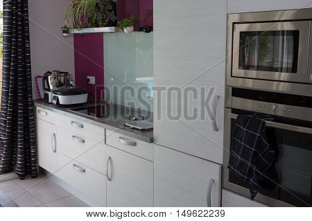 Grey And White Kitchen Interior In New Luxury Home