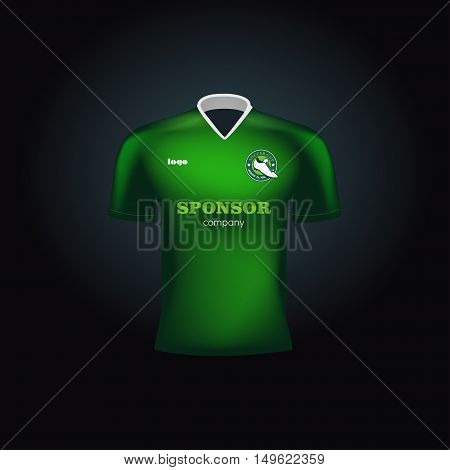 Realistic vector football uniform. Branding mockup. Soccer team clothing. Front view.