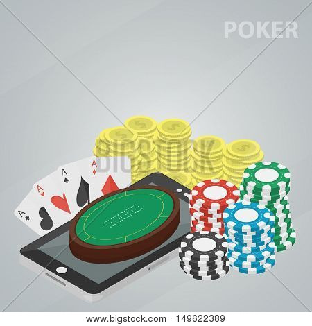 Vector isometric banner of poker for website and infographic. Business concept of casino and gambling. Poster of game of chances. Set of coins, chips and cards.