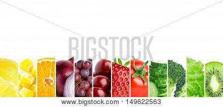 Color fruits and vegetables. Mixed fruits and vegetables. Healthy food concept. Organic food