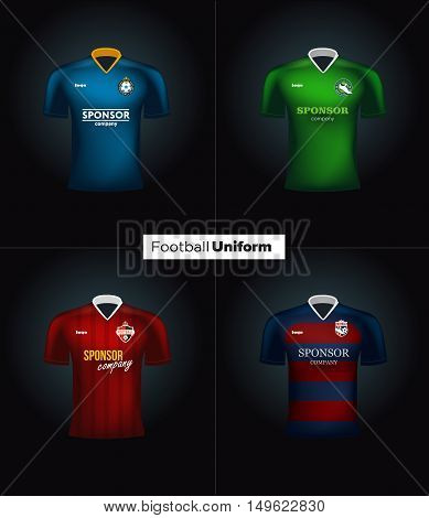 Realistic vector football uniforms. Branding mockup. Soccer team clothing. Front view.