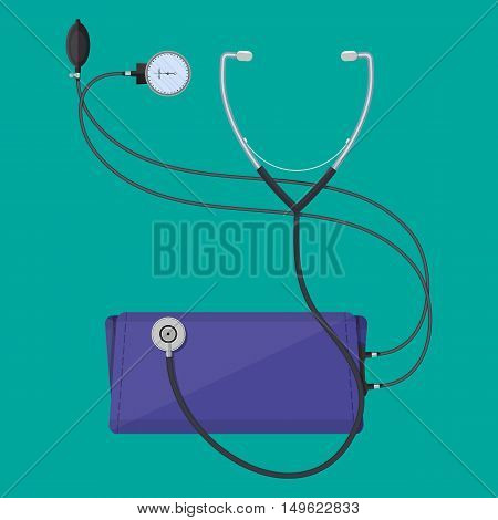 blood pressure measuring classic monometer and phonendoscope. vector illustration in flat style