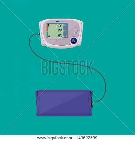 modern digital blood pressure measuring monometer. vector illustration in flat style
