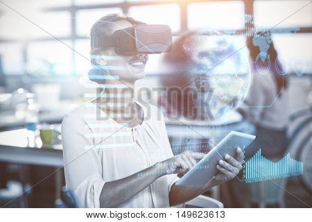 Earth globe against cheerful woman with virtual reality simulator