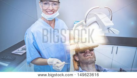 Beach against cheerful dentist with patient