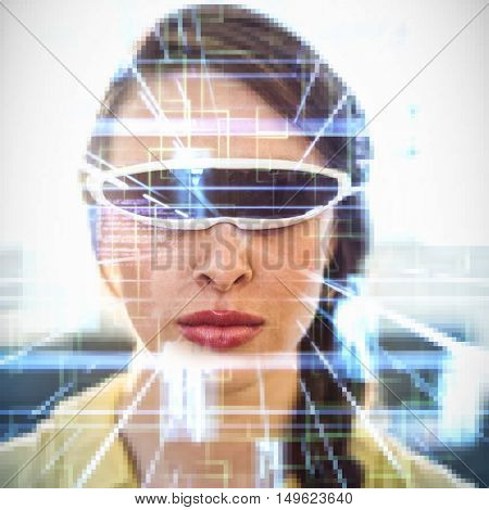 Blue lines next to screens and text against woman wearing virtual reality simulator Woman wearing virtual reality simulator at home