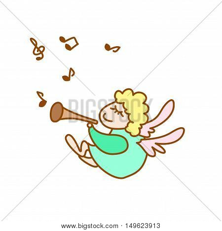 illustration of the little flying angel with flute and note on a white background