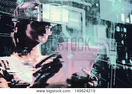 Businesswoman holding virtual glasses and tablet computer against blue background