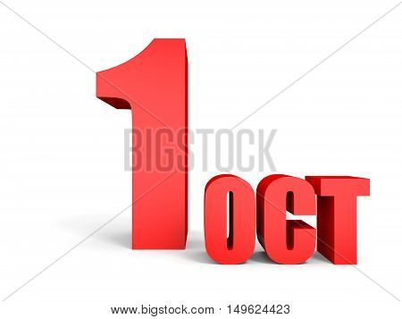 October 1. Text On White Background.