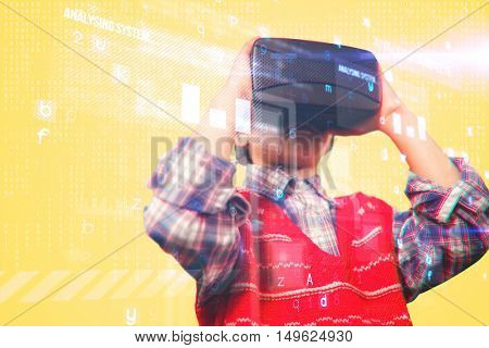 Children using an oculus against yellow background