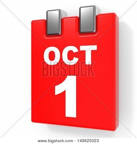 October 1. Calendar On White Background.