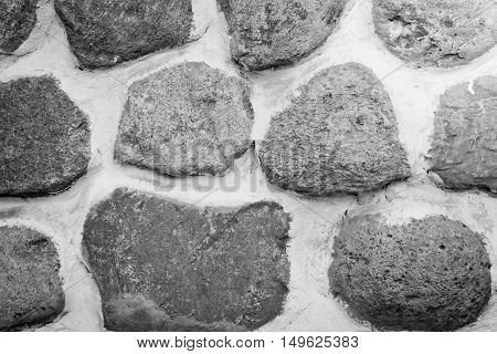 Different Stones In The Wall At Background Black And White