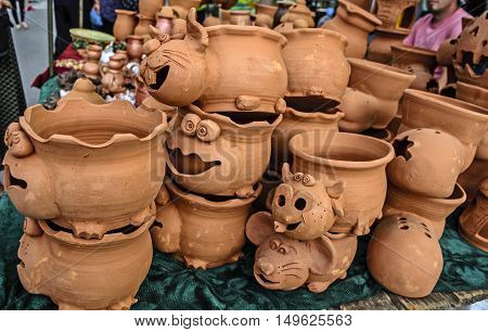 Traditional street sales of various decorative clay flowerpot.