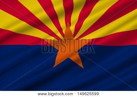 Flag of Arizona state United States. 3D illustration