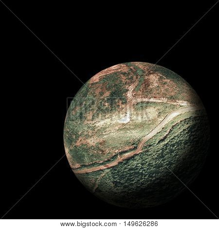Digitally composite image of field on globe over white background