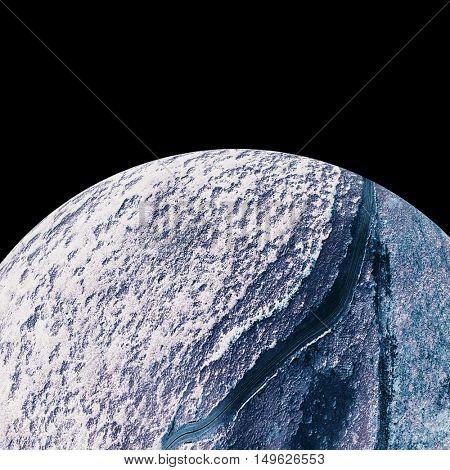 Digitally composite image of globe against white background