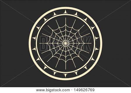 Stamp with spider web and witch hats. Round shape seal. Monochrome style