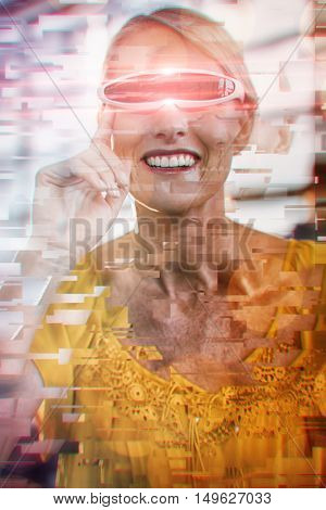 Glowing background against female business executive using virtual reality video glasses