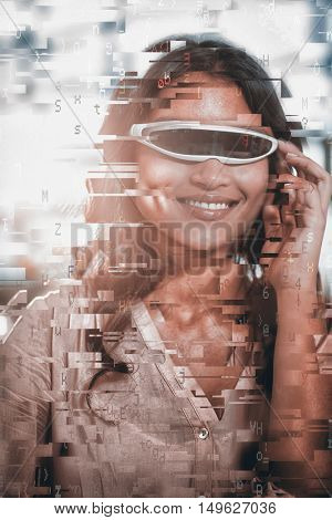 blue letters floating against businesswoman using virtual 3d glasses