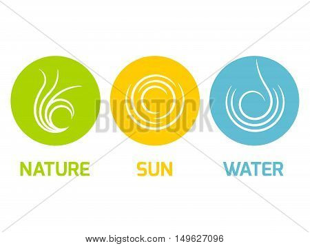 Green Nature, Yellow Sun and Blue Water - flat design icons in the circle. Ecology, nature or travel agency theme.