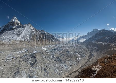 Ngozumpa Glacier In Sagarmatha National Park, Himalayas, Nepal. Picturesque Himalayan Glacier Landsc