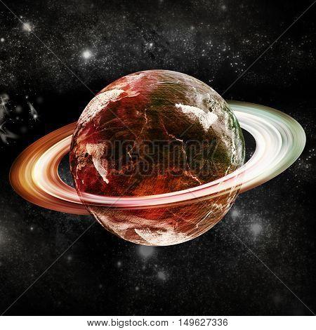 Digitally generated image of saturn on white background